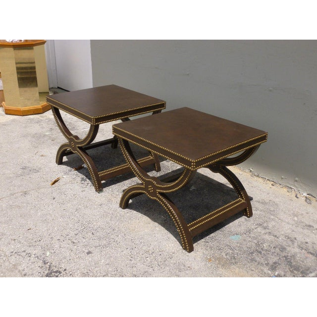 Vintage Post Modern Studded Leather Stretcher Tables- a Pair For Sale In Miami - Image 6 of 13