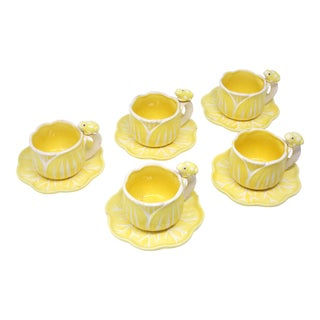 Vintage Hand-Painted Yellow and White Flower and Frog Espresso Cups and Saucers - Set of 12 For Sale