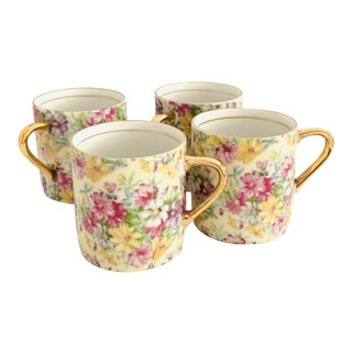 Vintage Chintz Floral Gilt Mug Set of 4 For Sale