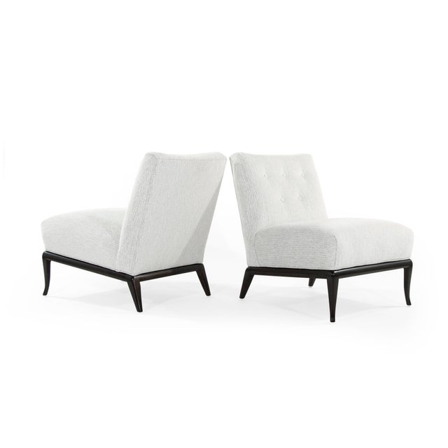 Mid 20th Century Grey Chenille Slipper Chairs by T.H. Robsjohn-Gibbings - a Pair For Sale - Image 5 of 12