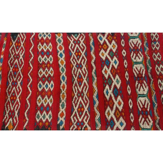 "Red Moroccan Berber Tribal Kilim Rug 3' 2"" x 5' 3"" - Image 2 of 5"
