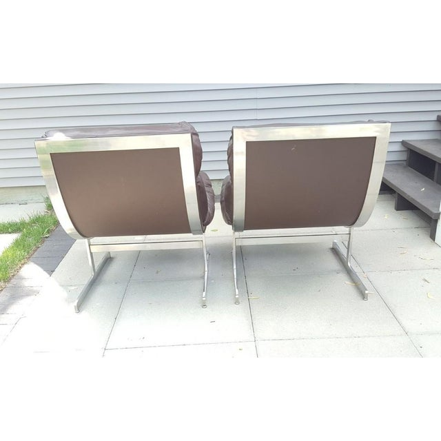 Mid-Century Modern Mid-Century Modern Kipp Stewart for Directional Chrome Lounge Chairs - A Pair For Sale - Image 3 of 11
