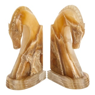 Art Deco Hand-Carved Onyx Horse Head Bookends - A Pair