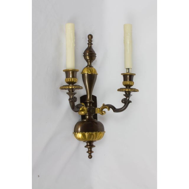 Pair of Double Arm Two Toned Sconces. Gilt Bronze and Dark Patina on Bronze. American, C. 1915 Completely restored and...