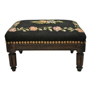 French Louis XVI Carved Walnut Small Petite Black Needlepoint Footstool Ottoman For Sale