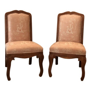 Chinoiserie Salmon Uphlstered Solid Wood Faux Reed Bamboo Chairs - a Pair For Sale