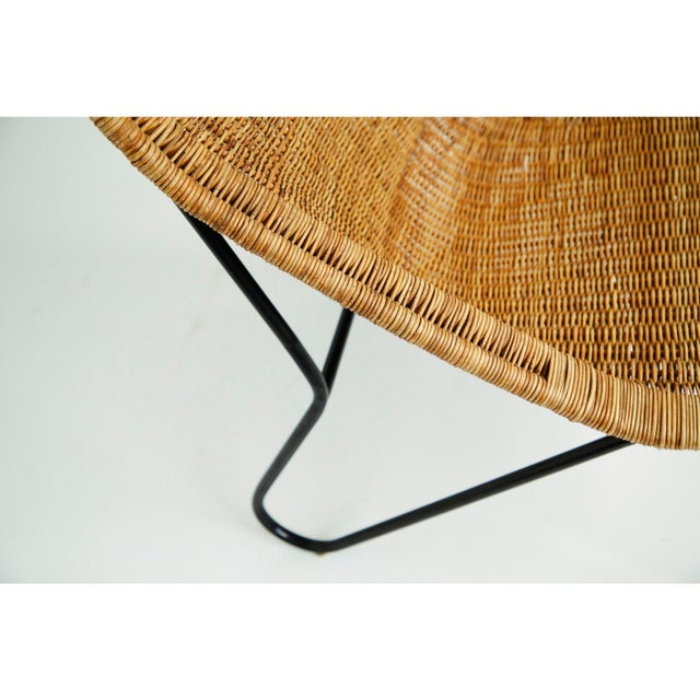 1950s Vintage 1950s Wicker Chair For Sale - Image 5 of 7