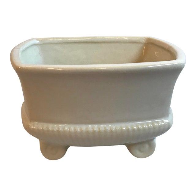 Vintage Mid Century Cream Ceramic Planter For Sale