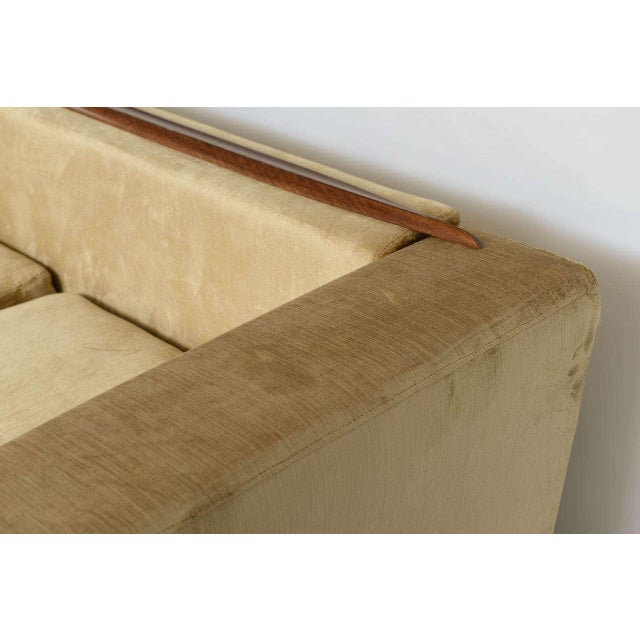 Wood Beautiful Saccaro Velvet Love Seat With Walnut Trim, 21st Century For Sale - Image 7 of 10