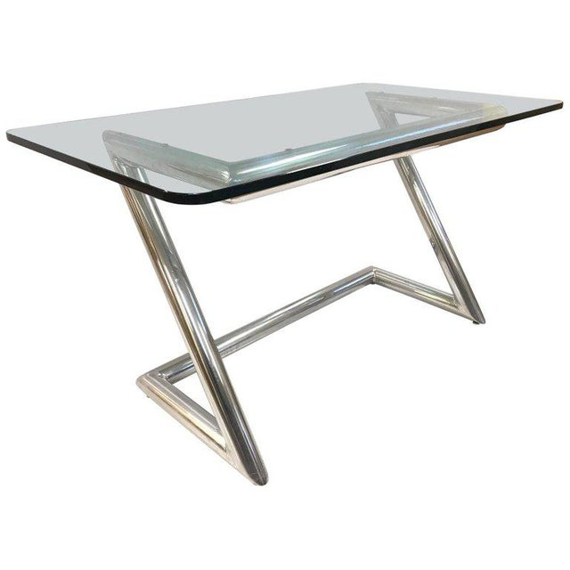 John Mascheroni Polished Aluminum and Glass Desk For Sale In New York - Image 6 of 6