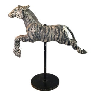 Early American/Americana Wooden Carved Painted Merry-Go-Round Carousel Zebra/Horse on Stand For Sale