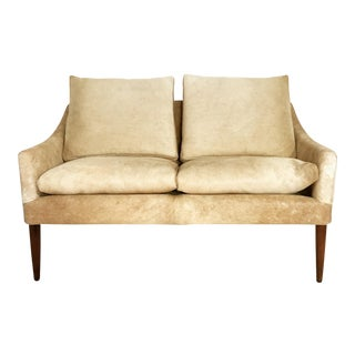 Danish Style Loveseat in Brazilian Cowhide