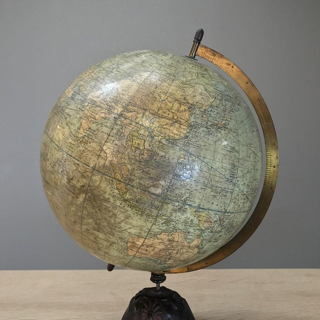 French Antique French Paper MacheÕ World Globe on Painted Cast Iron Stand For Sale - Image 3 of 11