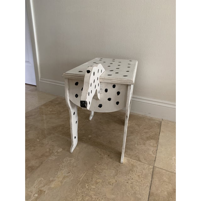 Boho Chic 1970s Dalmatian Dog Wooden Table - Handmade For Sale - Image 3 of 13