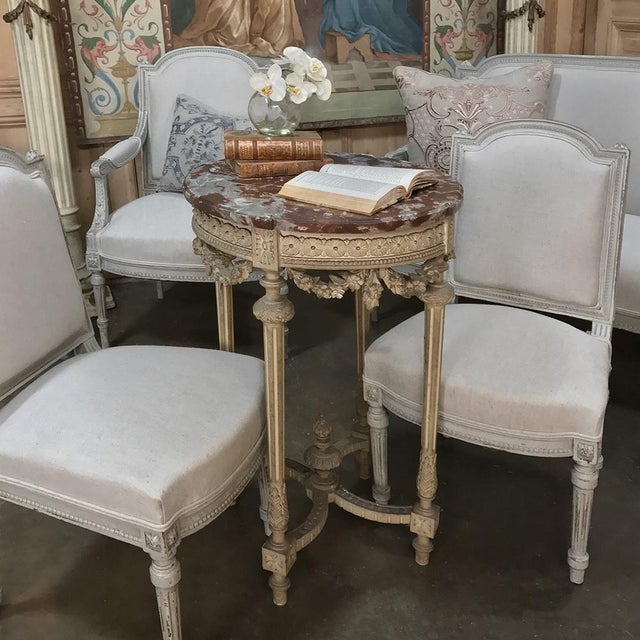 19th Century French Louis XVI Painted Marble Top Lamp Table ~ Gueridon features classical architecture and tapered and...