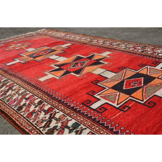 """Vintage Hand Knotted Persian Kazak Area Rug - 3' 11"""" X 7' 6"""" For Sale - Image 9 of 10"""