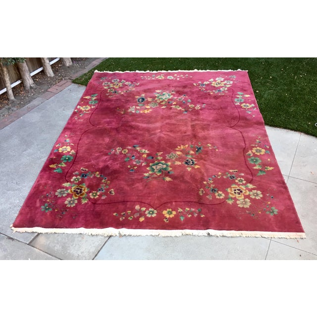 Authentic 1930s Art Deco Chinese Handmade Rug - Image 2 of 9
