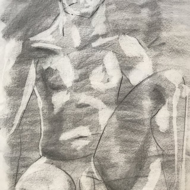Seated Male Nude Drawing - Image 3 of 4