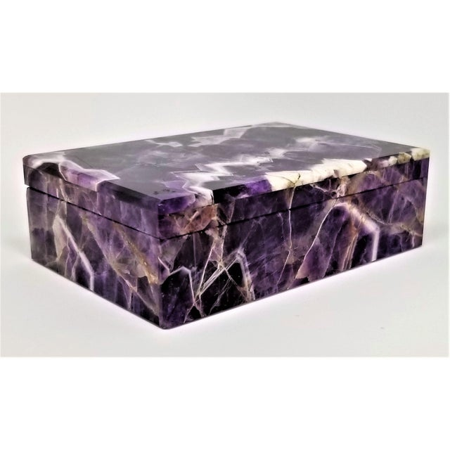 Offering an extraordinary vintage Amethyst jewelry or keepsake box, made in Italy, circa 1960s. This box has such superb...