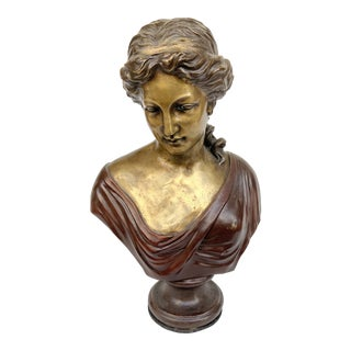 French Bronze Female Bust Sculpture For Sale