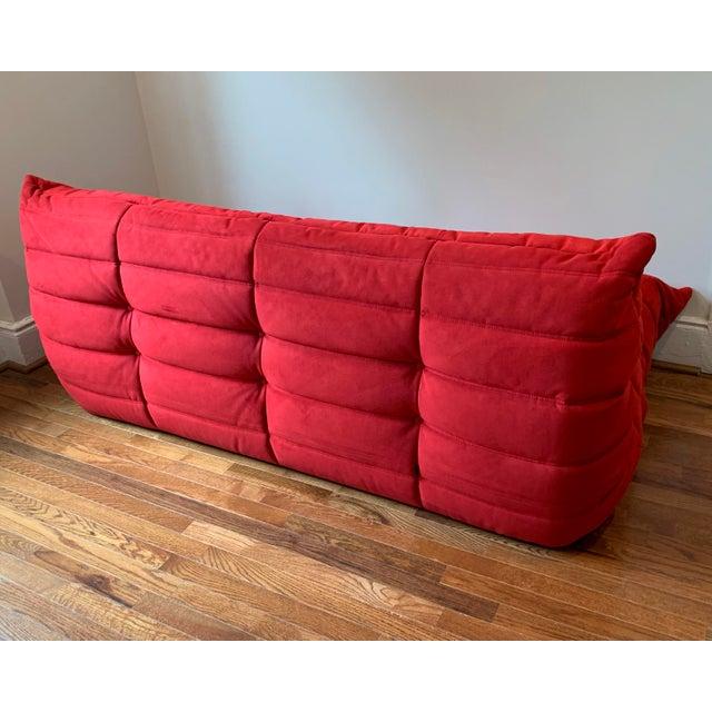 Mid-Century Modern Ligne Roset Alcantara Goya Red Togo Sofa For Sale - Image 3 of 6