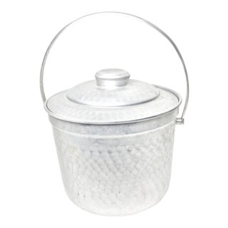 Mid Century Modern Hammered Aluminum Ice Bucket For Sale