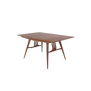 1960s Mid-Century Modern Walnut Sculptured Base Dining Table For Sale