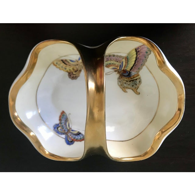 1960s Vintage Hand Painted Butterfly Nippon Decorative Basket Catchall For Sale - Image 5 of 11