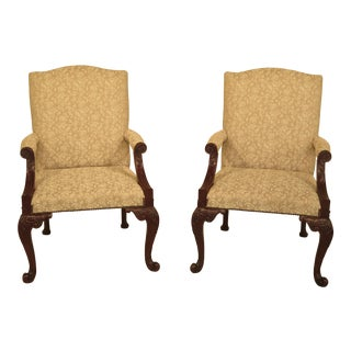 Baker Georgian Style Carved Mahogany Library Chairs - a Pair