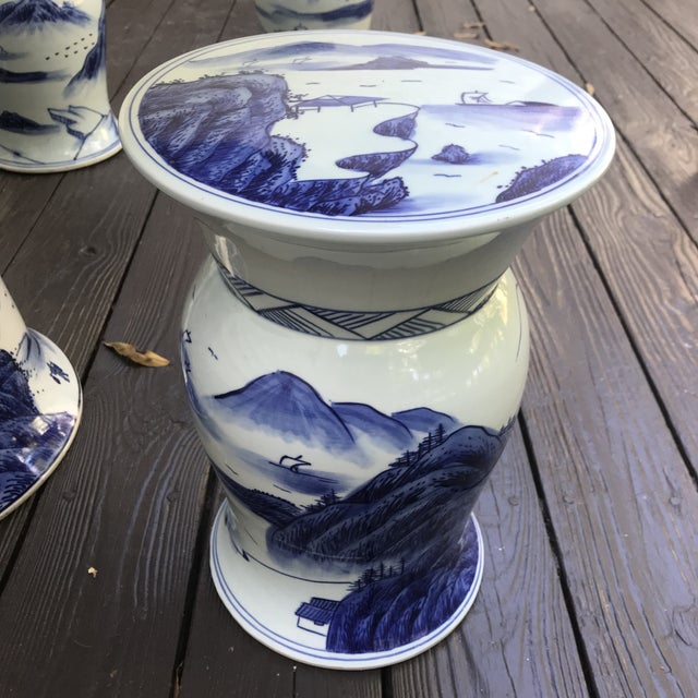 Blue & White Ceramic Game Table Set For Sale - Image 4 of 10
