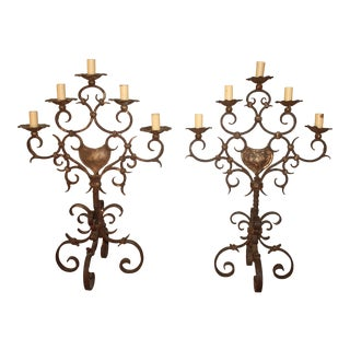 19th Century French Iron Candelabras - a Pair For Sale