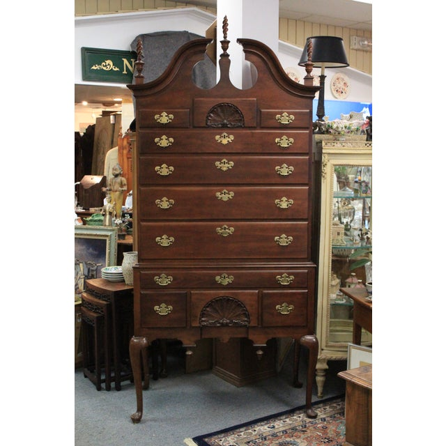 Late 20th Century Queen Anne Style Cherry Highboy For Sale - Image 10 of 10