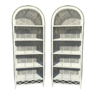 Vintage Boho Chic Rattan Bookcases - A Pair For Sale