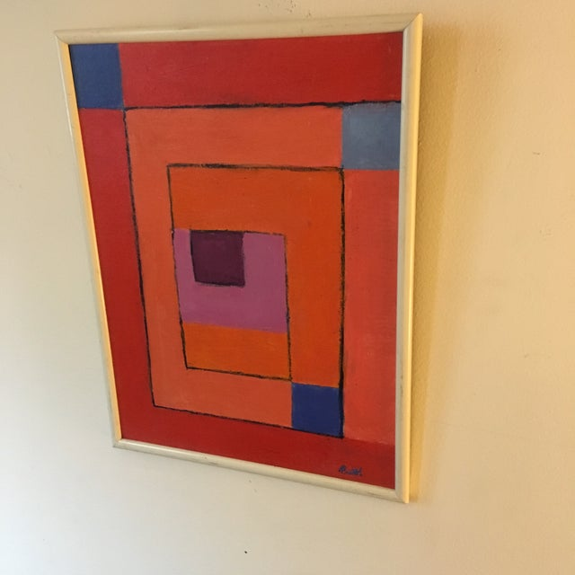 Vintage Geometric Abstract Painting on Canvas For Sale - Image 4 of 6