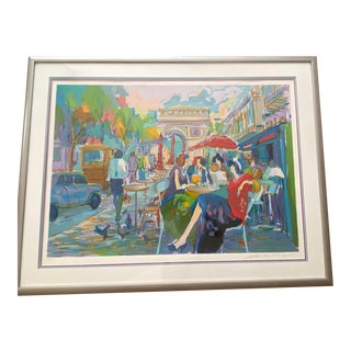"""1994 """"Bus Stop Cafe"""" Expressionist Style Figurative Serigraph by Isaac Maimon, Framed For Sale"""