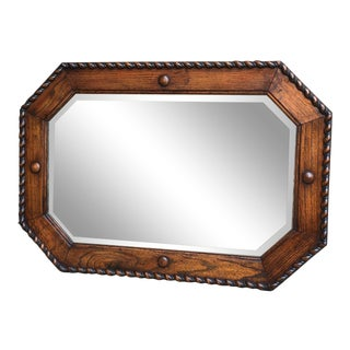 Antique English Carved Tiger Oak Beveled Mirror Octagon Barley Twist Jacobean For Sale