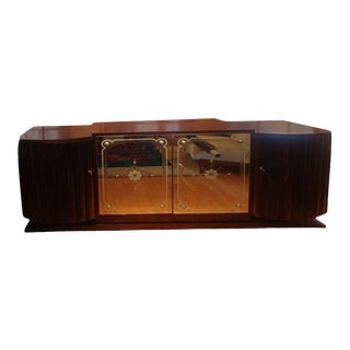 1930's French Art Deco Ruhlmann Inspired Credenza With Mirrored Doors For Sale