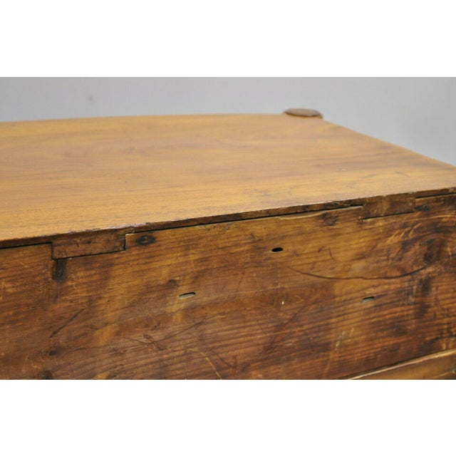 19th Century Sheraton 4 Drawer Mahogany Bow Front Chest Of Drawers For Sale - Image 11 of 13