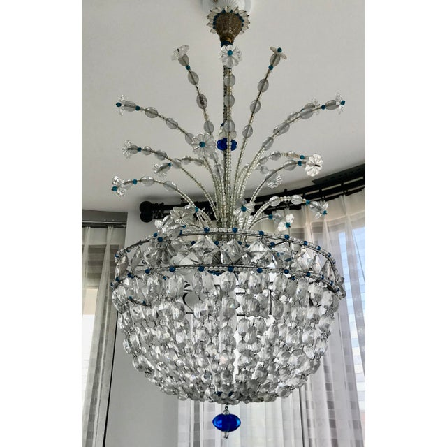 1940s Mid Century French Crystal Chandelier For Sale - Image 9 of 13
