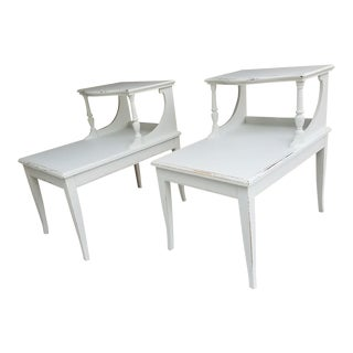 White Rustic Step Down Table For Sale