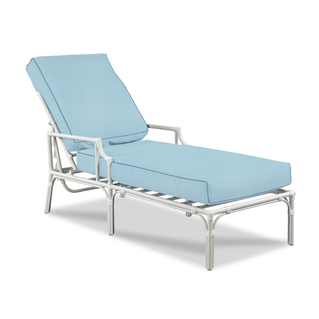 Traditional Haven Outdoor Chaise, Mineral Blue and Sapphire For Sale - Image 3 of 3