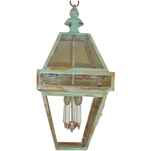 Four Sides Architectural Hanging Copper Lantern - Image 1 of 11