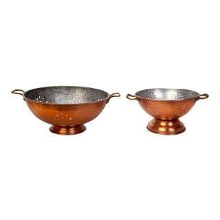 Antique Copper Colanders - A Pair For Sale