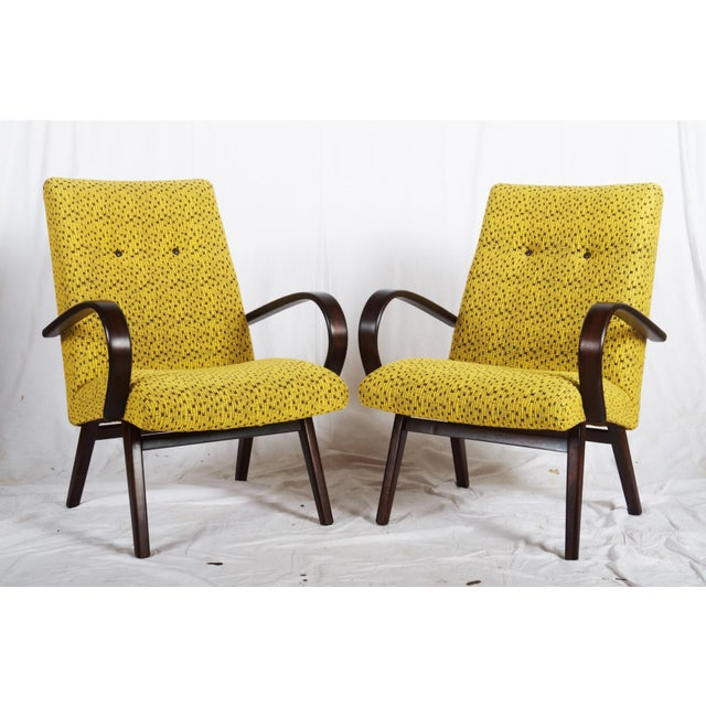 Mid-Century Czech Upholstered Chairs, 1960s - A Pair For Sale - Image 11 of 11