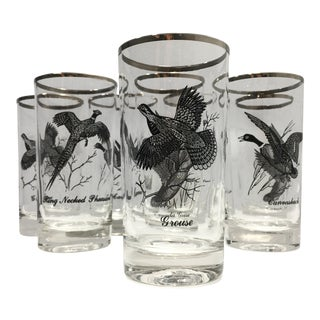 Vintage Mid-Century Federal Glass Sportsman Pattern Highball Tumblers - Set of 8 For Sale