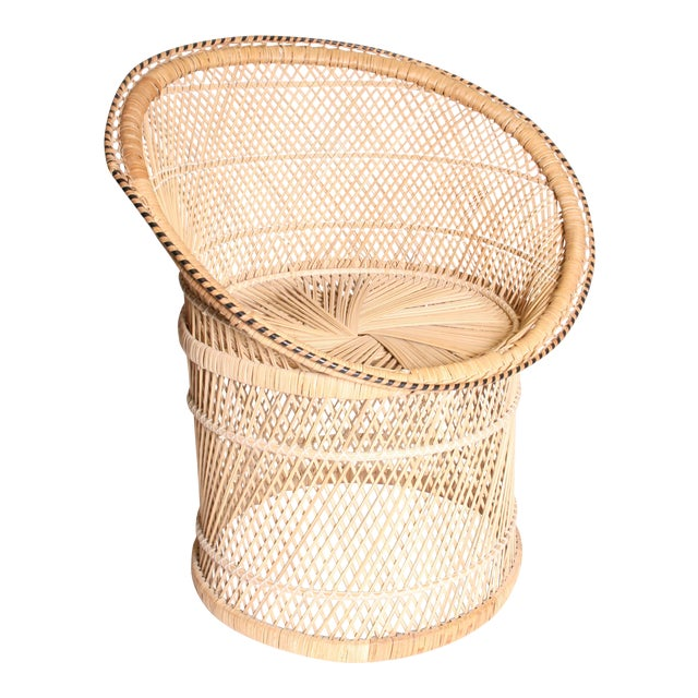 Vintage Boho Chic Wicker Pod Chair For Sale