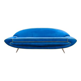 1970s Vintage Space Age Adrian Pearsall Style Blue Sofa MCM Party Sofa Jetson's For Sale