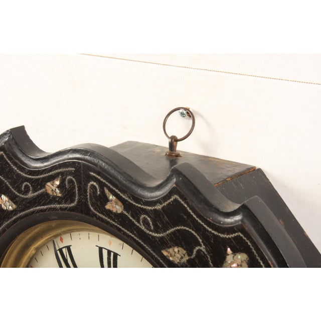 French 19th-C. French Napoleon III Wall Clock For Sale - Image 3 of 6