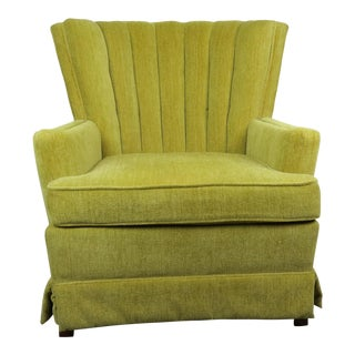 1970s Mid-Century Modern Chartreuse Velvet Lounge Chair For Sale