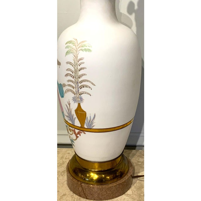 Glass English Chinoiserie Bristol Opaline Glass Vases, Now as Lamps - a Pair For Sale - Image 7 of 9